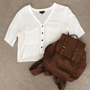 Flowy White Crop Top with Pockets